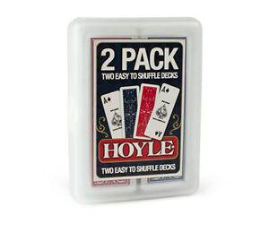 HOYLE-Slice-2-small-decks-skinny-playing-cards-easy-shuffle-Bicycle-red-blue