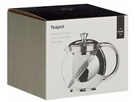 Premier Housewares Teapot with Infuser, Glass and Stainless Steel - 700 ml - NEW