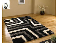 new large black white and grey pattern thick shaggy rug 160 x 230cm