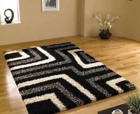 new black white and grey pattern thick shaggy rug 120 x170m