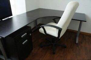 Ikea Bekant Black/Brown Corner Desk Right with chair