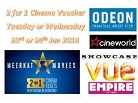 * 0.90p! * MEERKAT MOVIES 2-for-1 CINEMA TICKET VOUCHER CODE, Odeon Vue Cineworld: