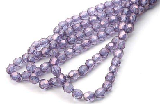 100 Purple Gold Luster Faceted Glass Beads 4MM