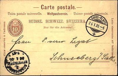 1905 Ganzsache Schweiz mit Stempel DAVOS-Platz nach SCHNEEBERG-Neustädtel