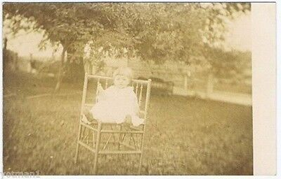 Toddler on Wicker Corner Chair, Real Photo Post Card