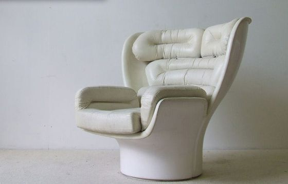 Joe Colombo 1963 Elda Fibreglass Arm Chair Leather White