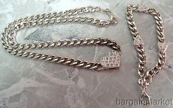 Valentines Day 925 Italian Sterling Silver CZ Heart Necklace Matching Bracelet