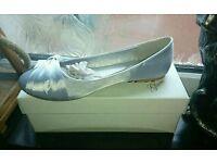 Size 7 Silver Satin Ballet Pumps New