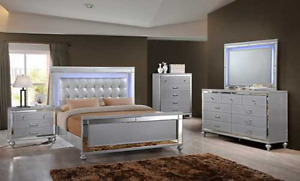 Queen Valentino bed frame with LED lights, case goods available