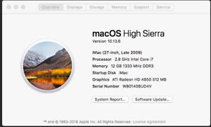 iMac Late 2009 i7 12GB Ram 500GB SSD