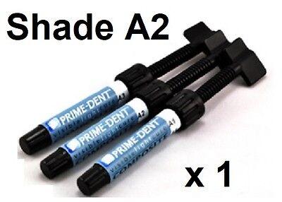 1 X New Prime-dent A2 4.5 G Light Cure Hybrid Dental Resin Composite Syringe A2