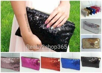 Evening Bag Purse Clutch Handbag Sequin Sequins Beaded Party Glitter Women NEW