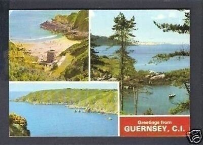 """CHANNEL ISLANDS """"Guernsey Multi Views"""" old postcard post card"""