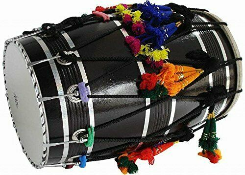 Mango Wood Punjabi Bhangra Dhol Black Finish Free Padded Carry Bag Free Ship