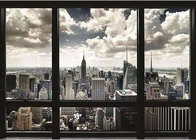 New York City Poster Window Art Print Wall Sky Scrapers Decor Home Office Large