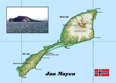 Jan Mayen Island Map Norway New Postcard