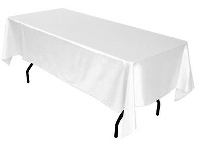 60x102 SATIN Rectangle Wedding Banquet Event Table Cover Tablecloth - WHITE