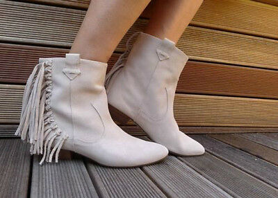 b6bdb32334b ZARA Beige Flat Leather Suede Cowboy Ankle Boots with Fringes 37 4 BNWT  2154 101