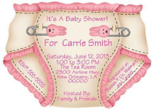diaper shower invitations  ebay, Baby shower
