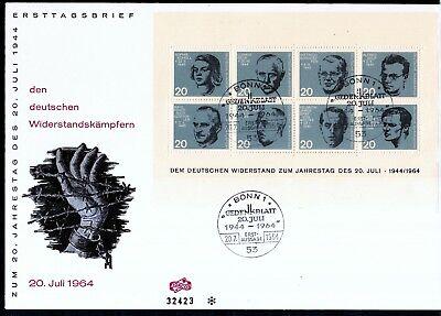 BRD 1964 Block FDC MiNr. 431-438  Deutsche Widerstandskämpfer  20. Juli 1944.