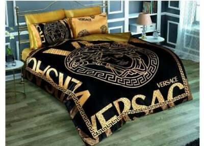 New Satin Bedding Set Queen Size Versace Medusa Symbol Black and Gold with Box