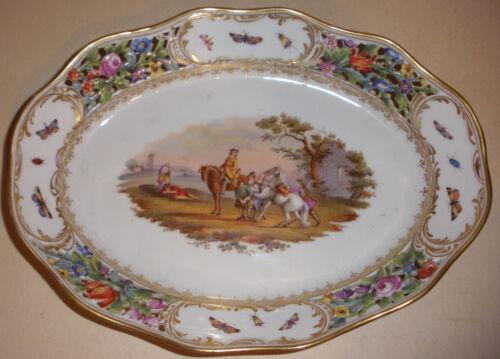 Antique 19thc dresden porcelain pierced hand painted centerpiece bowl Wolfsohn
