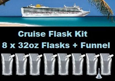 Cruise Flask Kit (8x 32oz + Funnel) Smuggle Rum Alcohol Liquor Plastic Runner