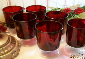 Cavalier Ruby Red/Clear Stemmed 8 oz. Goblets