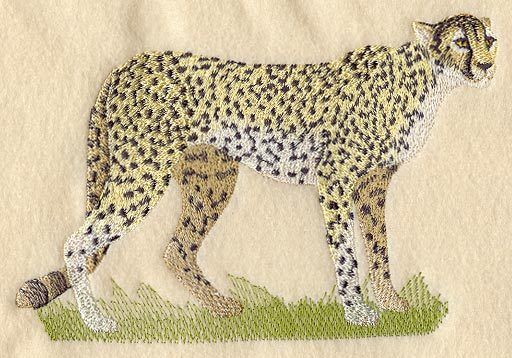 Embroidered Long-Sleeved T-Shirt - Cheetah M2104