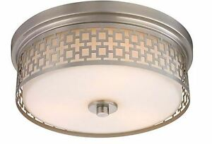 Brushed Nickel 3-Light Laser Cut Drum Flush Mount