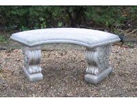 Curved garden stone bench