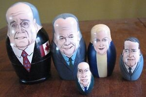 Nesting DOLLS Five Canadian Prime Ministers