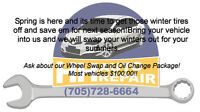 Oil change and Tire swap Package!!