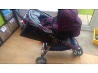 Baby jogger pushchair /pram with footmuff & baby carrier