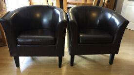 Faux Brown Tub Chairs (Pair)