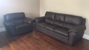 Dark Brown Leather Sofa Set (3&1-Seater) in Good Condition
