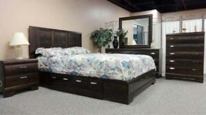 LORD SELKIRK FURNITURE - Wndsor 6PC Queen Storage Bedroom Set in Dark Brown - $1499.00