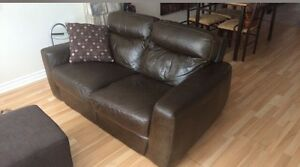 Sofa cuire brun / genuine italian leather couch