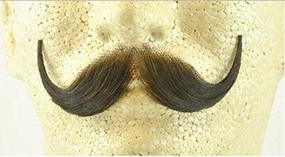 Brown Handlebar Moustache 100% Human Hair Handle Bar Costume Accessory (Brown Moustache)