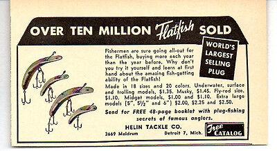 1953 Ad Helin Tackle Co Flatfish Fishing Lures Worlds Largest Selling Plug