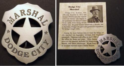 Marshal Dodge City Kansas Badge, old west, western, Bill Tilghman, Earp, silver