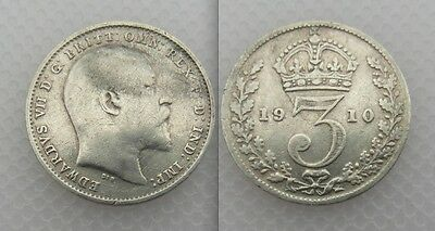 Collectable 1910 King Edward VII Silver Threepence