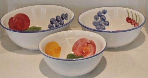 VTG Certified International 3 Nesting Mixing Bowls - Fruit Design - EUC