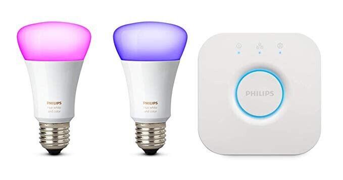 Used, Philips Hue Colour starter kit: two E27 bulbs & hue bridge - brand new for sale  York, North Yorkshire