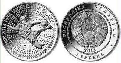 FIFA World Cup Russia Silver Coin Belarus Soviet Union Crest USSR 2018 Striker