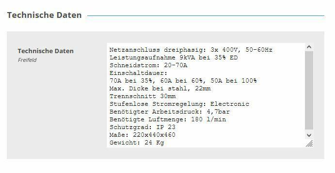 Cebotech Plasmaschneider 77 HF Inverter mit P70 Handbrenner 6m in Köln