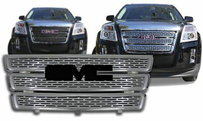 Chrome Style Grill Grille Insert Overlay for 2010-2014 GMC Terrain SLE & SLT Chrome Grille Grill Insert