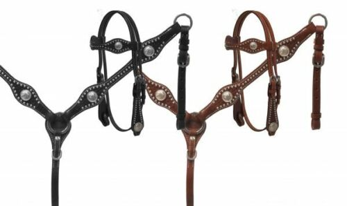 Showman Leather Headstall & Breast Collar Set w/ Basketweave Tooling & Reins
