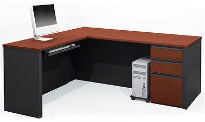 Bestar Prestige L Computer Desk With Keyboard Shelf In Bordeaux Graphite