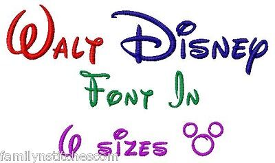 Machine Embroidery Stitches - Walt Disney Font Machine Embroidery Designs on CD in 6 sizes Family N Stitches